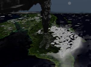 Imagen que muestra cómo se habría visto la erupción del Toba desde el espacio; la flecha que señala al Norte apunta hacia la esquina superior izquierda de la foto