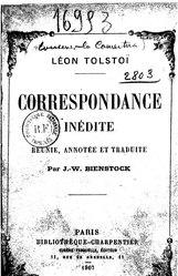 Léon Tolstoï: Correspondance inédite