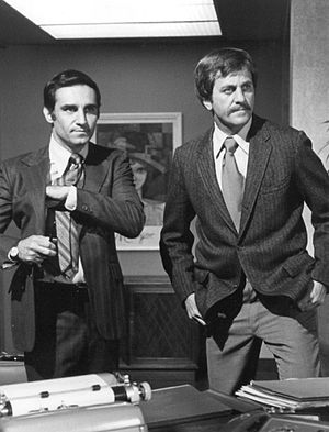 Tony Lo Bianco - Lo Bianco (left) with Don Meredith in Police Story, 1975.