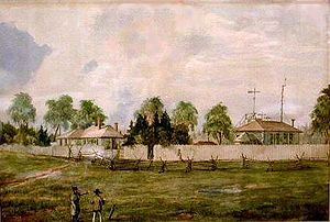 Toronto Magnetic and Meteorological Observatory - The original observatory: the main building is on the right, with the dome visible, and the roof of the smaller buried building is just visible over the fence. Painted by William Armstrong in 1852.