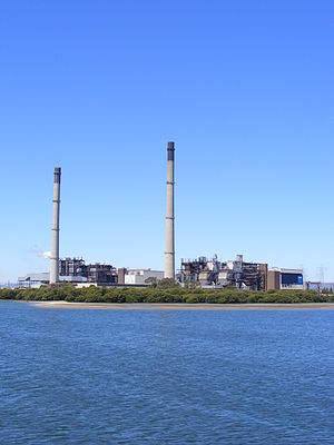 Torrens Island - Image: Torrens Island Power station from the river portrait