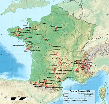 Map of 2011 Tour de France