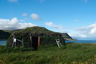 Porsanger - Traditional Sami house, along the fjord
