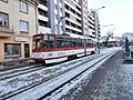 Tram 157 at Keskturg Stop in Tallinn 7 January 2015.JPG