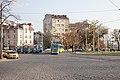 Tram in Sofia near Russian monument 064.jpg