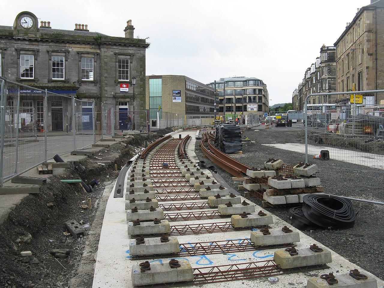 File Tram Works At Haymarket Railway Station Edinburgh