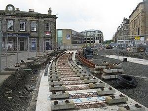 Edinburgh Trams - Construction works outside Haymarket railway station in August 2012