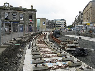 Edinburgh Trams - Construction works outside Haymarket railway station in August 2012