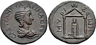 Eleutheria - Artemis Eleutheria, from a coin minted in Myra of Lycia in honour of Empress Tranquillina.