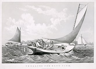 "Trolling (fishing) - ""Trolling for blue fish"" lithograph by Currier & Ives, 1866."