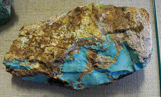 Turquoise - Massive Kingman blue turquoise in matrix with quartz from the Mineral Park mine, Arizona, US
