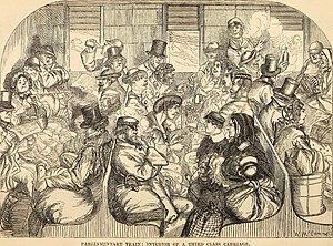 Parliamentary train - Parliamentary Train: Interior of a third class carriage in 1859