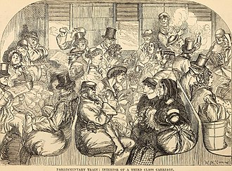 Parliamentary train - Parliamentary Train: Interior of a third class carriage (1859)