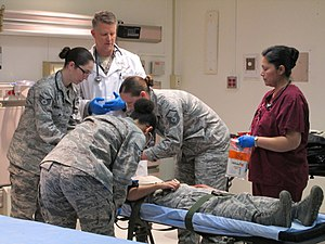 79th Medical Wing - Members of the 79th Medical Wing care for a simulated trauma victim during training at Joint Base Andrews