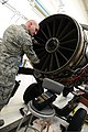 U.S. Air Force Tech. Sgt. Steven Winiarski, a nondestructive inspection craftsman with the 31st Aircraft Maintenance Squadron, inspects the blades of an aircraft engine using an ultrasonic wave machine April 29 130429-F-AI558-099.jpg