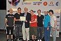 U.S. Ambassador to Vietnam, David B. Shear, presents a certificate of appreciation to Simple Plan for supporting the MTV EXIT concert against human trafficking and exploitation (727699703).jpg