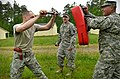 U.S. Army Pvt. Jerod Wood, left, with Headquarters and Headquarters Company, 105th Military Police Battalion, North Carolina Army National Guard, makes his way through a defense course during oleoresin capsicum 130501-Z-AY498-004.jpg