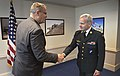 U.S. Deputy Defense Secretary Bob Work, left, hosts a meeting with Danish Army Gen. Knud Bartels, chairman of NATO's Military Committee, at the Pentagon 141002-D-NI589-086.jpg