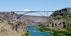 Die Snakerivier aan die Perrine Bridge in Twin Falls.
