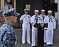 U.S. Navy Chief Select Aviation Electronics Technician Mike Ferrell, at lectern, reads a speech at Naval Air Facility Misawa, Japan, Sept 120911-N-ZA795-058.jpg
