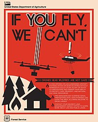 Us Department Of Agriculture Poster Warning About The Risks Of Flying Uavs Near Wildfires