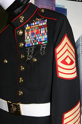 "Fraud - The highly decorated fake uniform worn by a man impersonating a ""Marine"" caught by two gunnery sergeants at Times Square in New York City, N.Y."