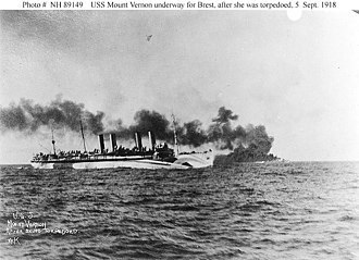 United States Navy operations during World War I - USS '' Mount Vernon'' on September 5 after being torpedoed.