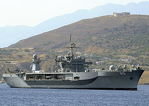 Amphibious command ship - Image: USS Mount Whitney (LCC JCC 20) in Souda Bay