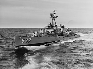 USS The Sullivans (DD-537) underway at sea on 29 October 1962 (USN 1063617).jpg
