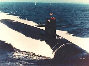 USS West Virginia (SSBN-736) underway in 1989.