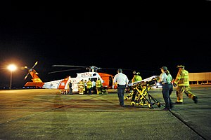 Deepwater Horizon explosion - A helicopter crew medevac survivors from Deepwater Horizon after the explosion.