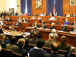 The House Financial Services committee meets. Committee members sit in the tiers of raised chairs, while those testifying and audience members sit below.