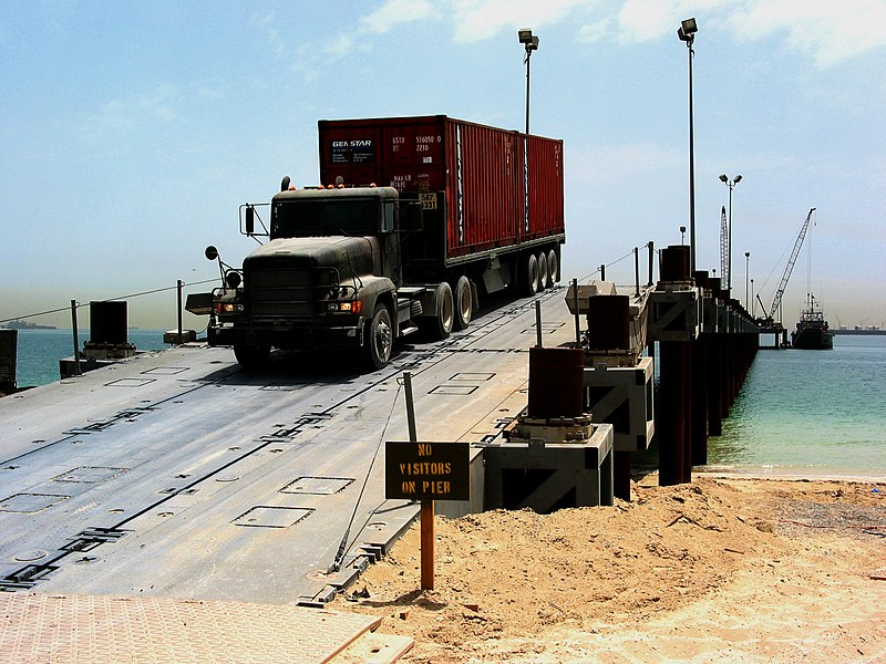 File:US Navy 030514-N-1050K-023 A U.S. Army transport vehicle returns from the U.S. Navy Elevated Causeway System-Modular.jpg