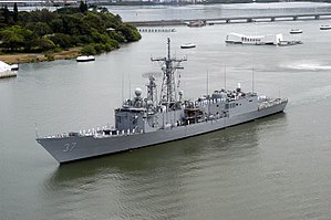US Navy 040927-N-0000X-001 Sailors assigned to the guided missile frigate USS Crommelin (FFG 37), seized 525 bales of cocaine this week during an interdiction in the Eastern Pacific