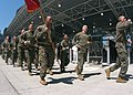 US Navy 050527-N-6343E-004 U.S. Marines, assigned to Marine Expeditionary Unit Two Four (24th MEU), run around Ground Zero in New York City to pay tribute to fallen military personal in the Global War on Terrorism during Fleet.jpg
