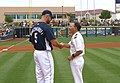 US Navy 070322-N-5324D-003 Kevin Kouzmanoff of the San Diego Padres congratulates Capt. Andrew J. Turnley, commander of Navy Reserve Readiness Command Southwest, after throwing out the first pitch of the game.jpg