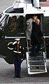 US Navy 090120-F-9629D-460 Former President George W. Bush and former first lady Laura Bush wave as they board a Marine Corps helicopter.jpg