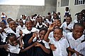 US Navy 090416-F-7522G-005 Haitian students from Emmanuel Christian School pose for a photo during a Continuing Promise 2009 community service project.jpg