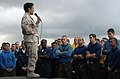 US Navy 090504-N-6639M-029 Rear Adm. Michelle Howard, commander of Expeditionary Strike Group (ESG) 2, addresses Sailors and Marines assigned to the amphibious assault ship USS Boxer (LHD 4).jpg