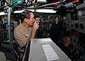 US Navy 091125-N-7705S-096 Vice Adm. Jay Donnelly, commander, Submarine Force, congratulates the crew of the Los Angeles-class attack submarine USS Montpelier (SSN 765) over the ship's 1MC.jpg
