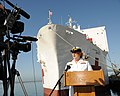 US Navy 100501-N-6326B-048 Rear Adm. Christine M. Bruzek-Kohler addresses local media before the departure of the Military Sealift Command hospital ship USNS Mercy (T-AH 19).jpg