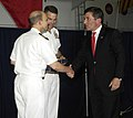 US Navy 100609-N-6362C-418 Rear Adm. Patrick Driscoll, center, commander of Strike Group 10, and Capt. Joseph Clarkson, commanding officer of the aircraft carrier USS Harry S. Truman (CVN 75).jpg