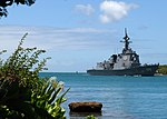 US Navy 100730-N-8539M-219 The Japan Maritime Self-Defense Force guided-missile destroyer JS Atago (DDG 177) returns to Joint Base Pearl Harbor-Hickam after participating in Rim of the Pacific (RIMPAC) 2010 exercises.jpg