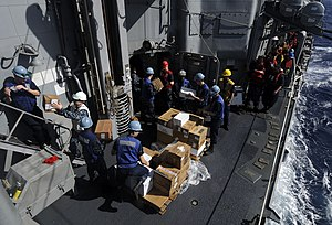 US Navy 111211-N-BC134-374 Sailors aboard the guided-missile cruiser USS Bunker Hill (CG 52) unload supplies during an underway replenishment.jpg