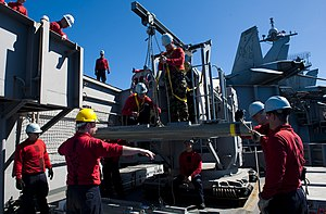 US Navy 120214-N-OY799-079 Sailors lower a rolling airframe missile on the flight deck of the Nimitz-class aircraft carrier USS John C. Stennis (CV.jpg