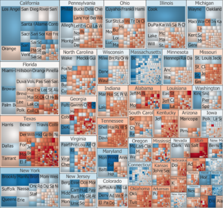 Treemap of the popular vote by county, state, and locally predominant recipient