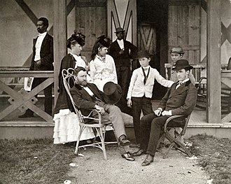 Julia Grant - Ulysses Grant and Julia Dent with their four children; Jesse, Ulysses Jr., Nellie, and Frederick in front of their cottage in Long Branch, New Jersey.