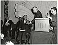 Unidentified men and Mayor John F. Collins speaking at Sheraton-Plaza Hotel (11071847263).jpg