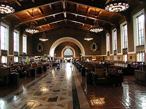 Waiting room of Union Station, Los Angeles. (T...