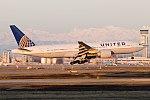 United Airlines Boeing 777-200ER (N78008) landing at Milan Malpensa Airport.jpg